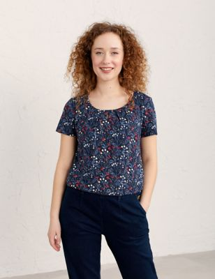 Cotton Floral Scoop Neck Short Sleeve Top