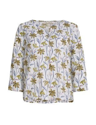 Pure Cotton Floral V-Neck Shell Top