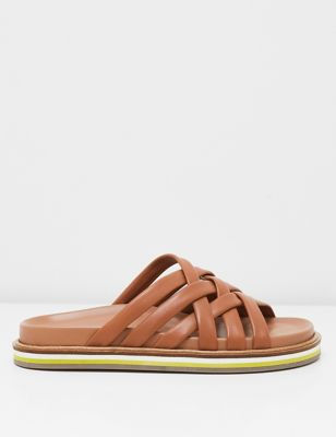 Leather Footbed Woven Sandals