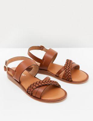 Leather Mini Wedge Sandals