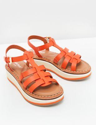 Leather Flatform Gladiator Sandals