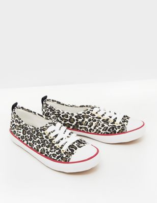 Lace Up Canvas Eyelet Detail Trainers