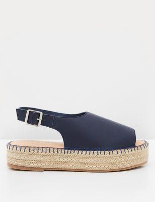 Leather Ankle Strap Flatform Espadrilles
