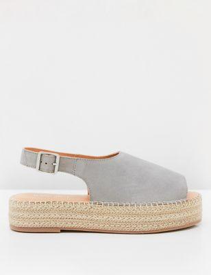 Suede Ankle Strap Flatform Espadrilles
