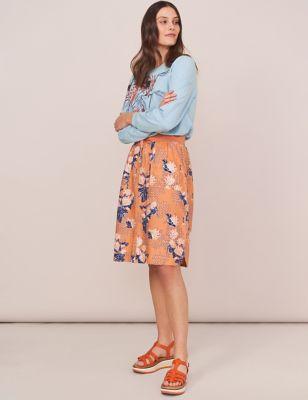 Pure Linen Floral Knee Length A-Line Skirt
