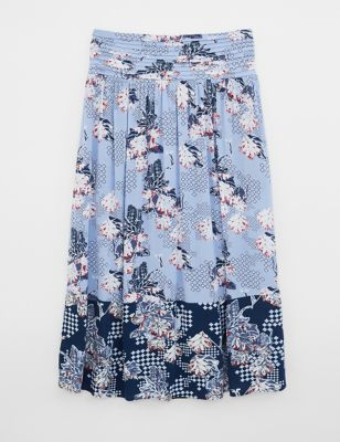 Floral Pleat Front Midi A-Line Skirt