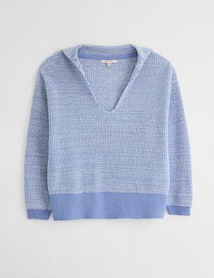 Cotton Knitted V-Neck Jumper