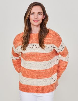 Striped Crew Neck Jumper with Cotton