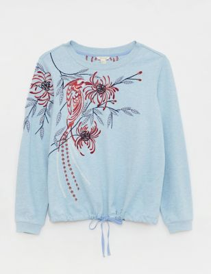 Pure Cotton Floral Embroidered Sweatshirt