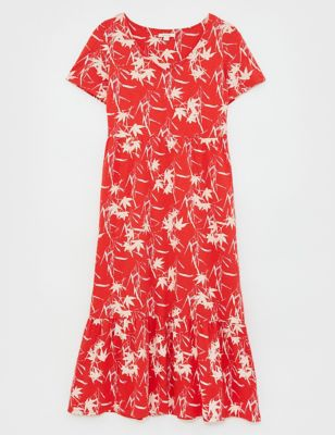 Pure Cotton Floral V-Neck Midi Tiered Dress