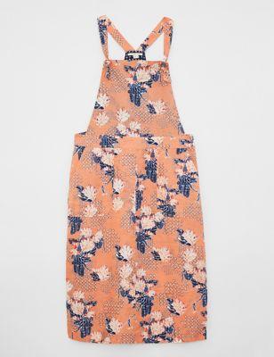 Pure Linen Floral Midi Pinafore Dress