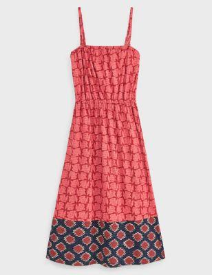 Cotton Printed Bandeau Midi Dress