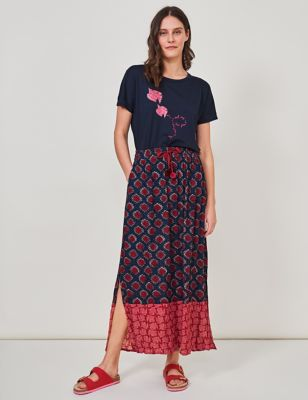 Printed Maxi Slip Skirt