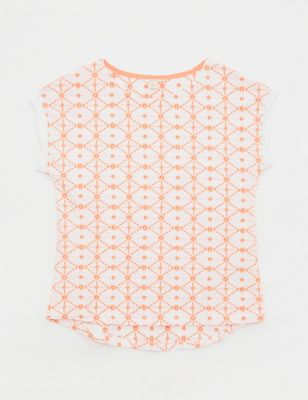 Pure Cotton Geometric Embroidered T-Shirt