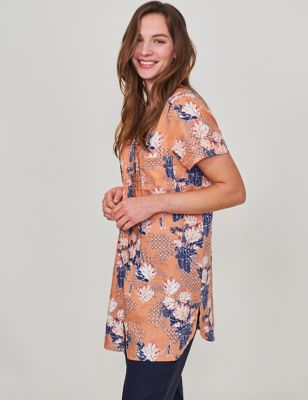 Pure Linen Floral V-Neck Short Sleeve Tunic