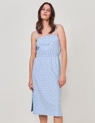 Cotton Printed Waisted Bandeau Dress