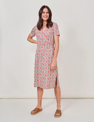 Pure Cotton Printed V-Neck Midi Dress