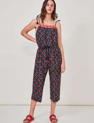 Pure Cotton Printed Cropped Jumpsuit