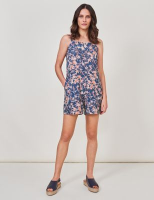 Pure Cotton Floral Sleeveless Playsuit