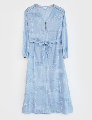 Printed V-Neck Maxi Tiered Dress