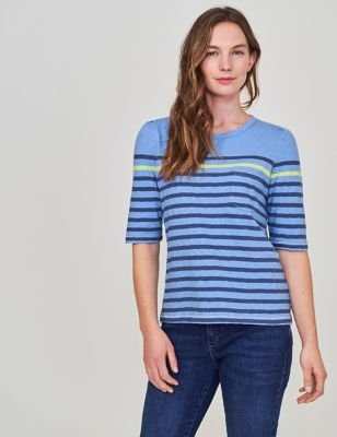 Pure Cotton Striped Half Sleeve T-shirt