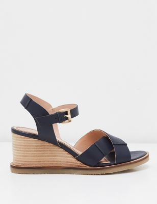 Leather Ankle Strap Wedge Sandals