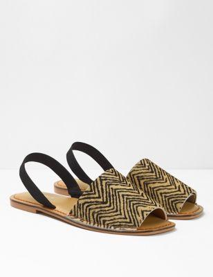 Leather Zigzag Print Flat Mules