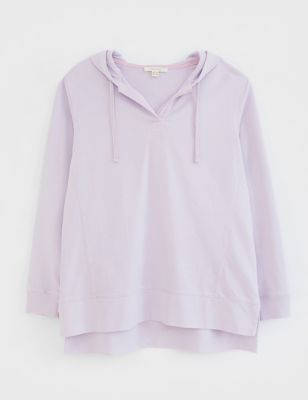 Pure Cotton Knitted V-Neck Hoodie