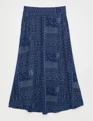 Jersey Printed Maxi A-Line Skirt