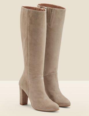 Suede Block Heel Knee High Boots