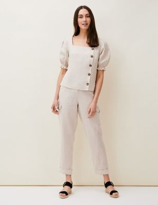 Pure Linen Square Neck Short Sleeve Blouse