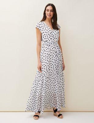 Polka Dot V-Neck Maxi Tiered Dress