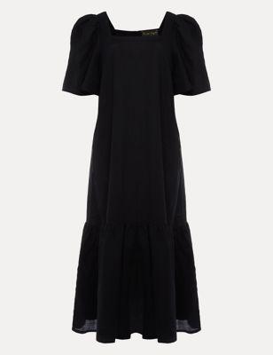 Linen Square Neck Midi Shift Dress