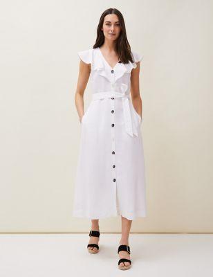 Linen V-Neck Belted Midaxi Shirt Dress