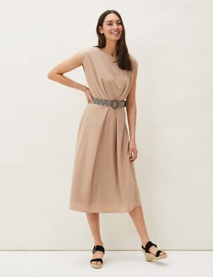 Belted Knee Length Shift Dress