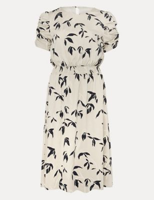 Jersey Floral Ruched Shirred Shift Dress