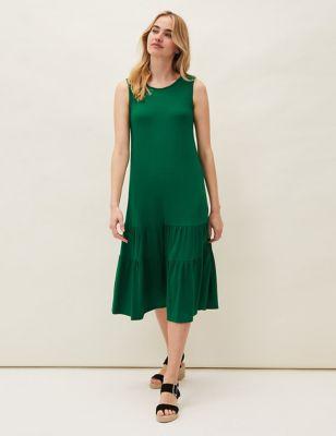 Jersey Round Neck Midaxi Slip Dress