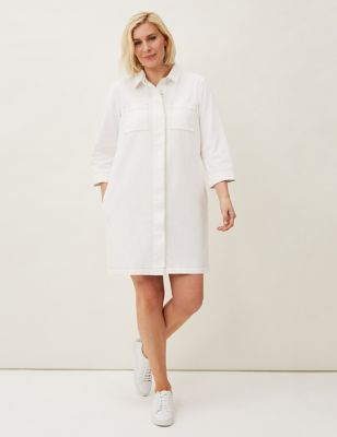 Denim Collared Mini Shirt Dress