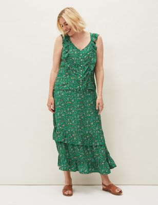 Floral Print Midaxi Tiered Skirt