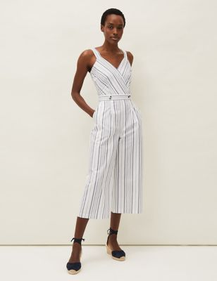 Pure Cotton Striped Cropped Jumpsuit