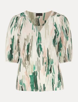Printed V-Neck Puff Sleeve Top