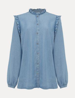 Pure Tencel™ Frill Neck Long Sleeve Shirt