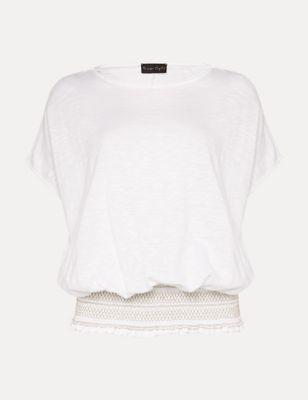 Pure Cotton Slash Neck Shirred Top