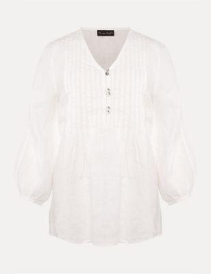 Pure Linen V-Neck Pintuck 3/4 Sleeve Blouse