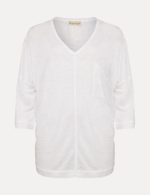 Pure Linen V-Neck 3/4 Sleeve Top