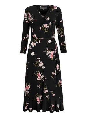 Jersey Floral V-Neck Midi Skater Dress