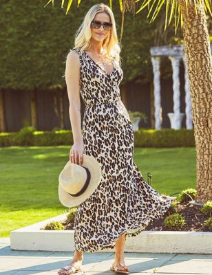 Jersey Animal Print V-Neck Column Dress