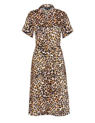 Animal Print Belted Knee Length Shirt Dress