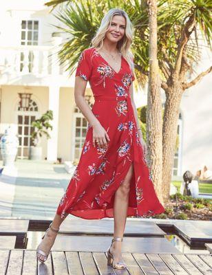 Floral V-Neck Midi Wrap Dress