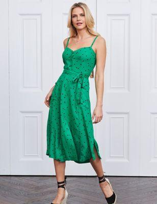 Polka Dot Tie Front Midi Slip Dress